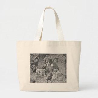Saint Bernard Dogs and Crow Tote Bags