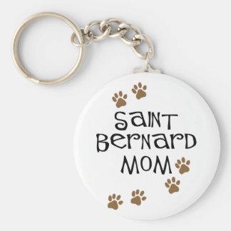 Saint Bernard Mom Basic Round Button Key Ring