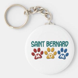SAINT BERNARD Mom Paw Print 1 Basic Round Button Key Ring