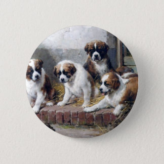 Saint Bernard puppies turtle cute painting dogs 6 Cm Round Badge