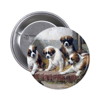 Saint Bernard puppies turtle cute painting dogs 6 Cm Round Badge
