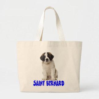 Saint Bernard Puppy Dog Canine Blue Love Large Tote Bag