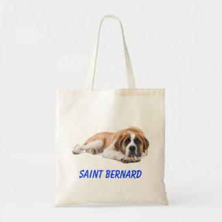 Saint Bernard Puppy Dog Canvas Grocery Totebag