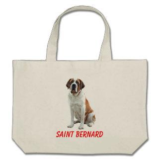 Saint Bernard Puppy Dog Canvas Grocery Totebag Bags