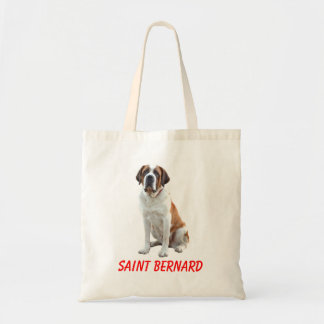 Saint Bernard Puppy Dog Canvas Grocery Totebag Budget Tote Bag