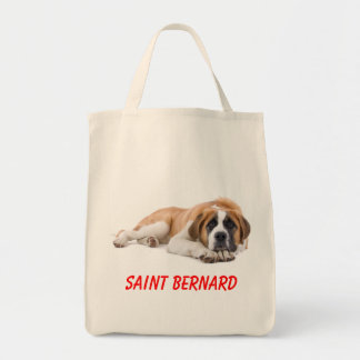 Saint Bernard Puppy Dog Canvas Grocery Totebag Grocery Tote Bag
