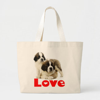 Saint Bernard Puppy Dog - Love St Bernard Large Tote Bag