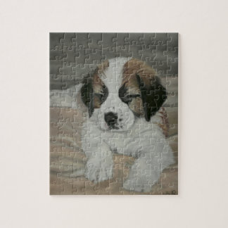 Saint Bernard Puppy Painting Jigsaw Puzzle