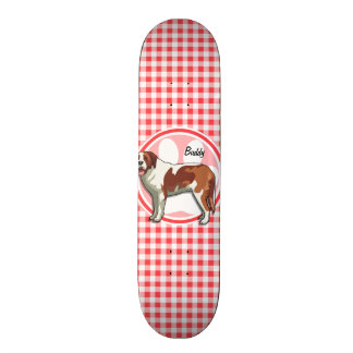 Saint Bernard; Red and White Gingham Skateboard Decks
