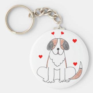 Saint Bernard Valentine Ears Basic Round Button Key Ring