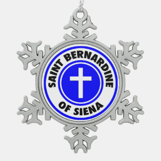 Saint Bernardine of Siena Pewter Snowflake Decoration