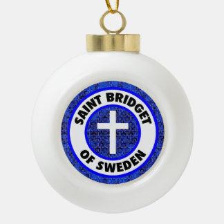 Saint Bridget of Sweden Ceramic Ball Christmas Ornament