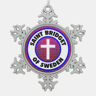 Saint Bridget of Sweden Snowflake Pewter Christmas Ornament