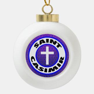 Saint Casimir Ceramic Ball Christmas Ornament