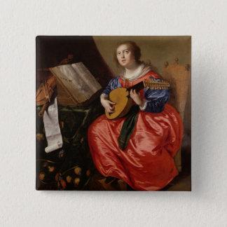 Saint Cecilia (oil on canvas) 15 Cm Square Badge