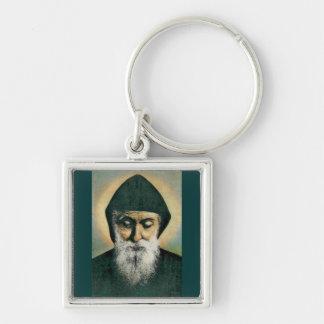 Saint Charbel Portrait Silver-Colored Square Key Ring