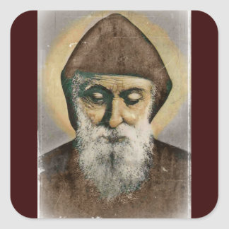 Saint Charbel Portrait Square Sticker