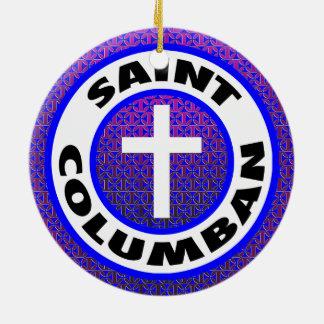Saint Columban Round Ceramic Decoration