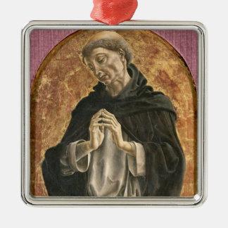 Saint Dominic (tempera on panel) Silver-Colored Square Decoration