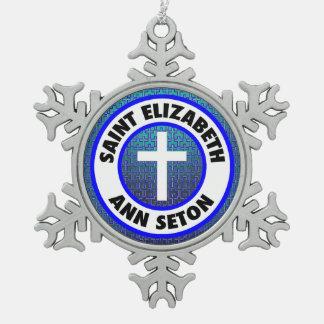 Saint Elizabeth Ann Seton Pewter Snowflake Decoration