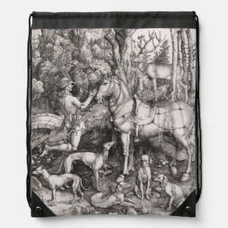 Saint Eustace by Albrecht Durer Drawstring Bag