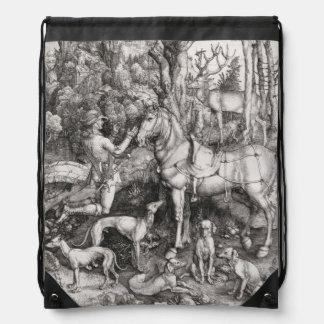 Saint Eustace by Albrecht Durer Drawstring Bag