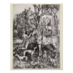 Saint Eustace Engraving by Albrecht Durer Posters