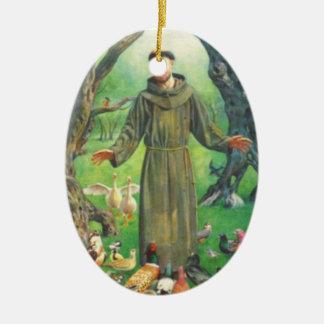 Saint Francis and prayer for pets Christmas Ornament