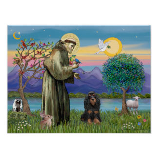 Saint Francis & Black-Tan Cocker Spaniel Poster