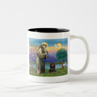 Saint Francis & Black-Tan Cocker Spaniel Two-Tone Coffee Mug