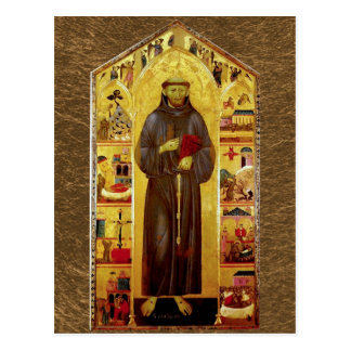 Saint Francis of Assisi Medieval Icon Postcard