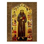 Saint Francis of Assissi Mediaeval Iconography Postcard