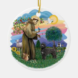 Saint Francis - Portuguese Water Dog (black) Christmas Ornament