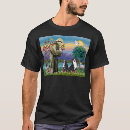 Saint Francis - Two Bernese Mountain Dogs T-Shirt