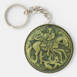 SAINT GEORGE AND DRAGON MEDALLION BASIC ROUND BUTTON KEY RING