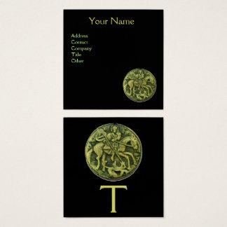 SAINT GEORGE AND DRAGON MEDALLION Monogram,Black Square Business Card