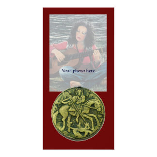 SAINT GEORGE AND DRAGON MEDALLION, red green Personalised Photo Card