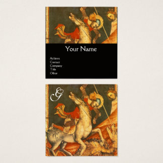 Saint George's Battle,Dragon Monogram Black Square Business Card