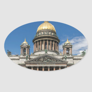 Saint Isaac's Cathedral in Saint Petersburg Russia Oval Sticker