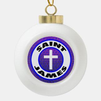 Saint James Ceramic Ball Christmas Ornament