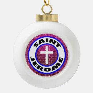 Saint Jerome Ceramic Ball Christmas Ornament