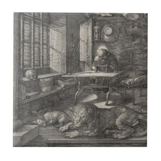 Saint Jerome in His Study by Albrecht Durer Small Square Tile