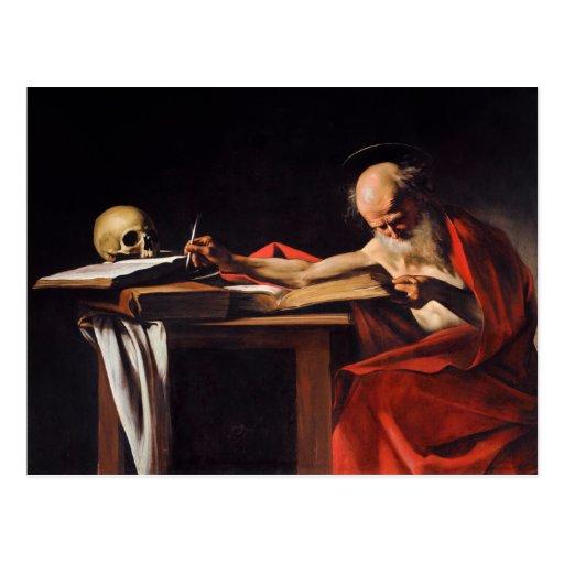 Saint Jerome Writing by Michelangelo Caravaggio Postcards
