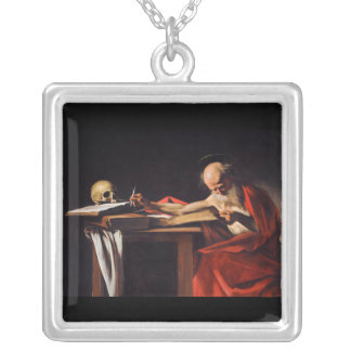 Saint Jerome Writing by Michelangelo Caravaggio Silver Plated Necklace