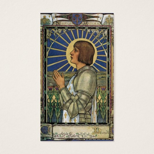 Saint Joan of Arc Stained Glass Image Business Card