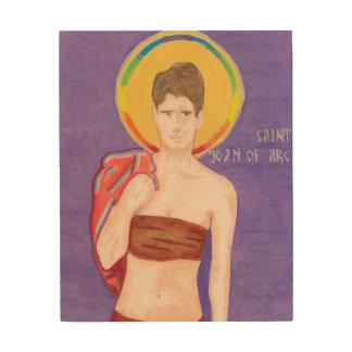 Saint Joan of Arc Wood Icon Wood Print