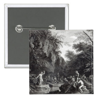 Saint John preaching in the Wilderness 15 Cm Square Badge