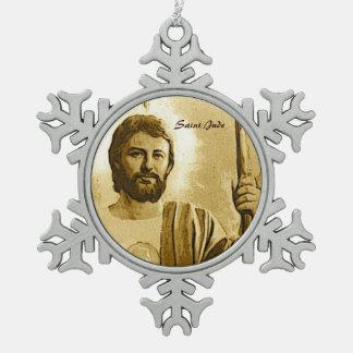 Saint Jude Snowflake Pewter Christmas Ornament