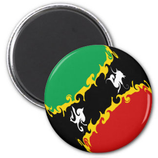 Saint Kitts and Nevis Gnarly Flag 6 Cm Round Magnet