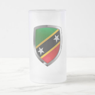 Saint Kitts and Nevis Metallic Emblem Frosted Glass Beer Mug